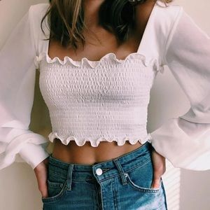 White Ruched Balloon long sleeves Crop Top